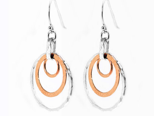 Israel design rose gold and sterling silver drop earrings