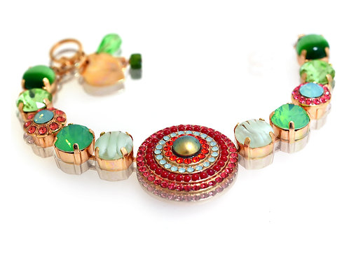 18ct Rose gold plated red and green Swarovski crystal and gemstone bracelet