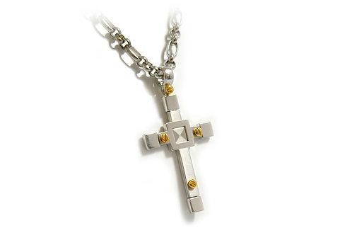 White & Rose Gold Large Cross Pendant