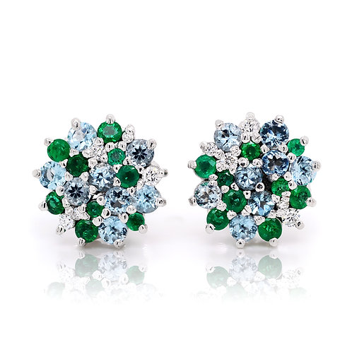 Precious stone cluster earrings