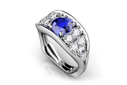 18ct White gold pod ring with a round tanzanite and diamonds