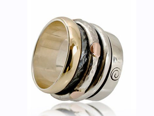 Israel designer ring with yellow and rose gold and sterling silver