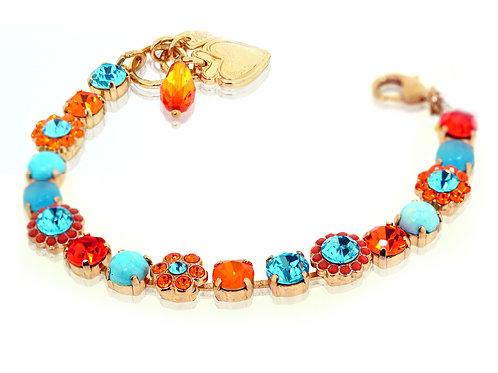Rose gold orange and pale blue Swarovski crystals bracelet