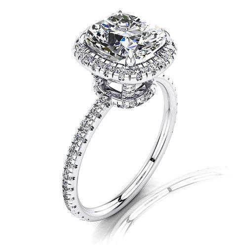 Cushion Cut Diamond Halo Engagement Ring High Setting