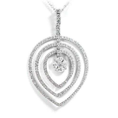 18ct White Gold Tear Drop Diamond Pendant