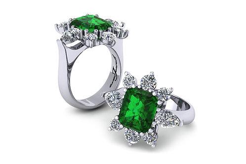 18ct White gold cushion cut emerald ring with round brilliant diamonds