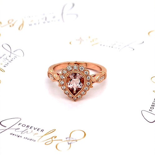Peach Morganite Engagement Ring