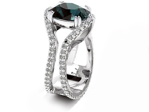 18ct White gold cushion cut smokey spinel with a split diamond shank