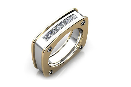 18ct White & yellow gold gents ring bezel set with round brilliant diamonds