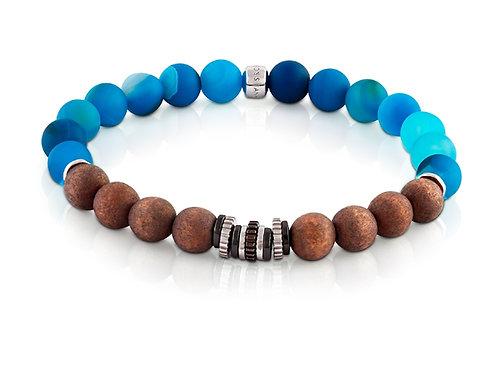 blue and brown beaded bracelet mens