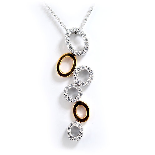 white and rose gold pendant