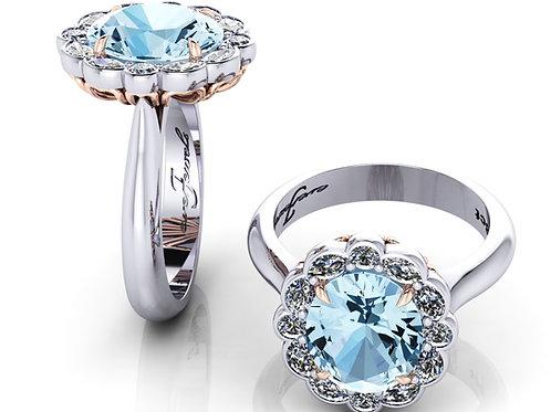 18ct White gold oval aquamarine diamond halo ring