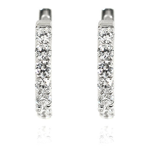 18ct White gold round brilliant diamond hoop earrings