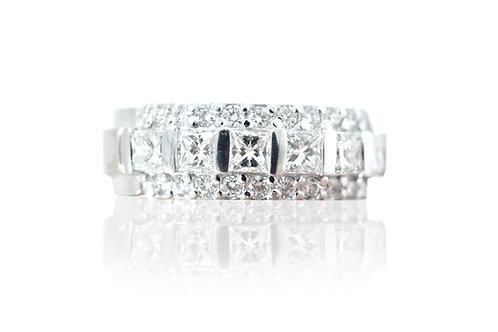 18ct White gold princess cut diamond band