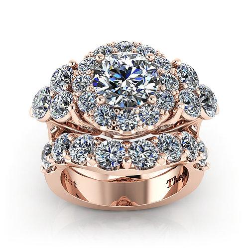 Rose Gold Round Brilliant Diamond Halo Engagement Set