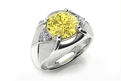 18ct White gold round brilliant yellow diamond ring and  white round diamonds