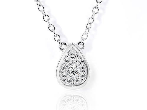 white gold diamond teardrop pendant