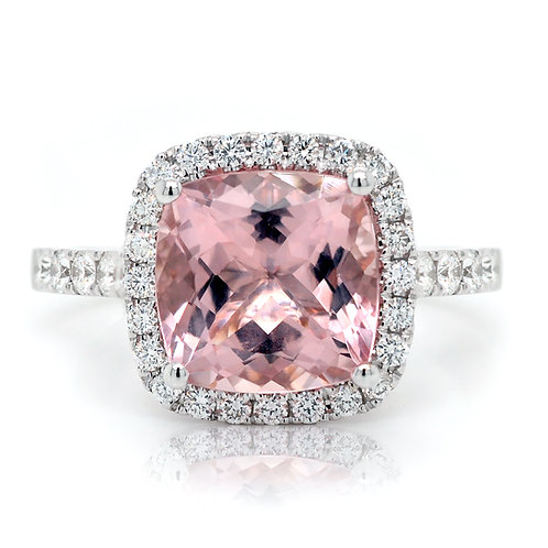 cushion morganite ring