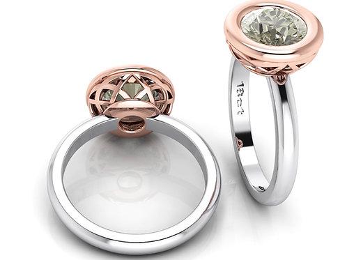Bezel Set Round Cogniac Diamond Solitaire Ring