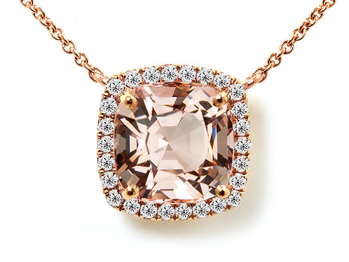 cushion morganite pendant