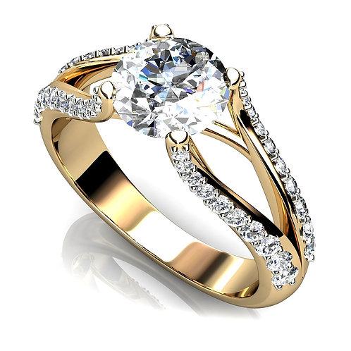 Round Brilliant Diamond Engagement Ring with Split Shank