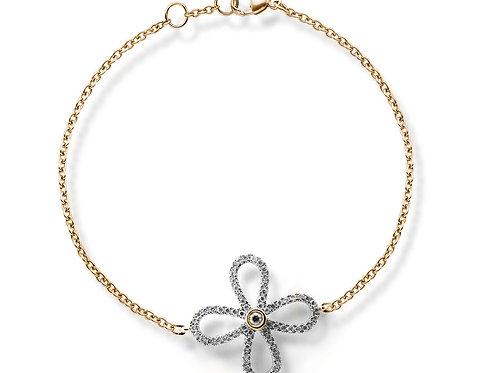 rose gold diamond flower bracelet