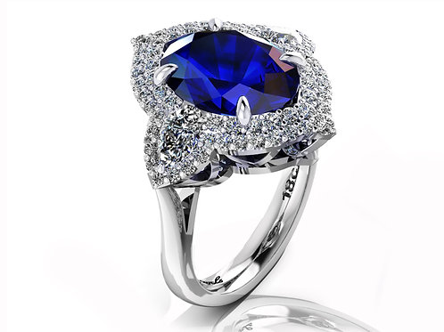 18ct White gold 5ct oval tanzanite dress ring with pave diamonds