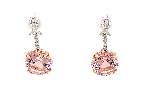 Earrings Pink Morganite & Diamond