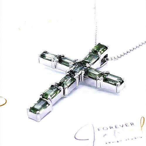 Green Sapphire Cross Pendant