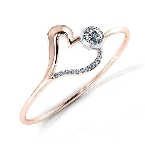 Ladies 18ct Rose gold diamond heart bangle