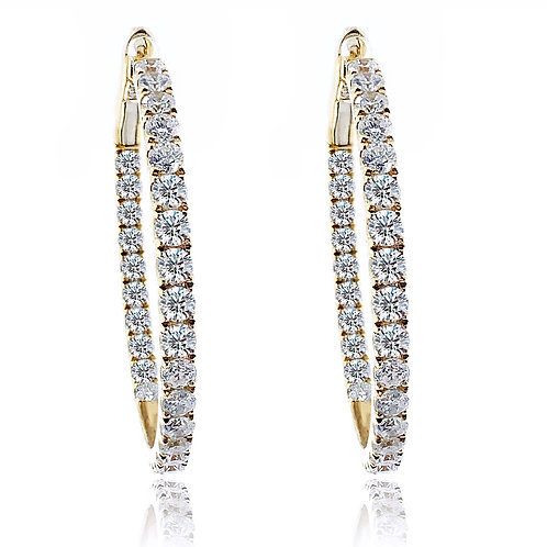 yellow gold diamond hoops