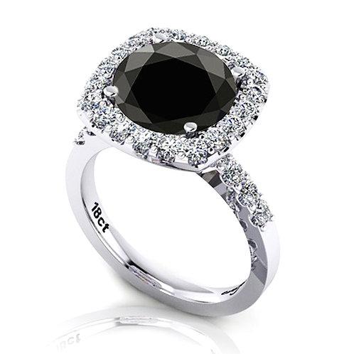 Black Round Diamond Halo Engagement Ring
