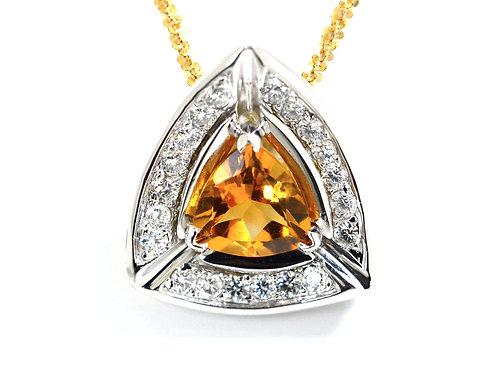 citrine pendant with diamonds
