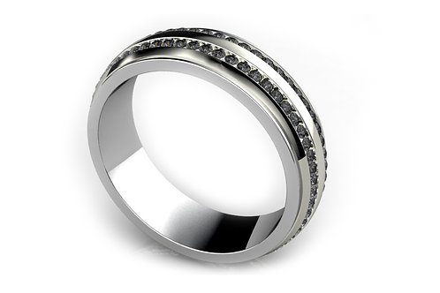 18ct White gold with black diamonds gents ring