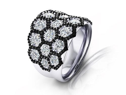 black and white diamond pave dress ring
