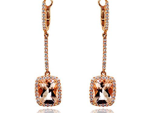 rose gold cushion cut morganite earrings