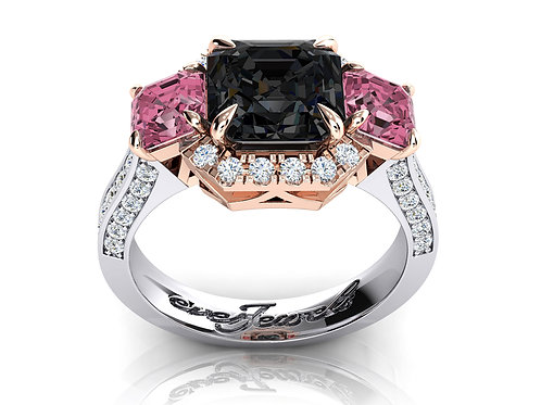 18ct White and rose gold dress ring with pink and grey spinel stones