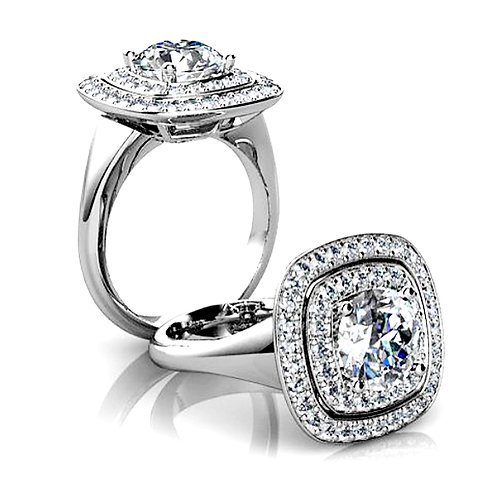 Cushion Cut Diamond Engagement Ring with Double Diamond Halo