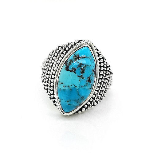 MARQUISE TURQUOISE GRECIAN FILIGREE RING