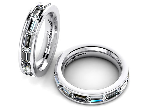 18ct White gold emerald cut diamond eternity wedding band