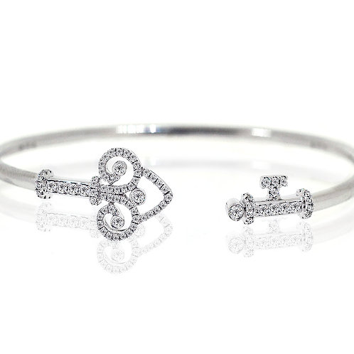 white gold diamond key bangle