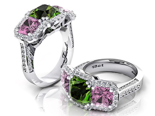 18ct White gold tourmaline and spinel dress ring with a halo of diamonds