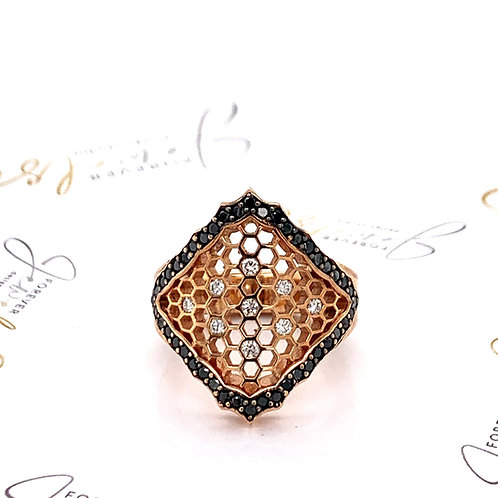 Rose Gold Honeycomb Black and White Diamond Dress Ring