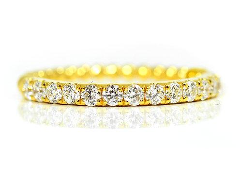 18ct Yellow gold diamond bubble wedding band
