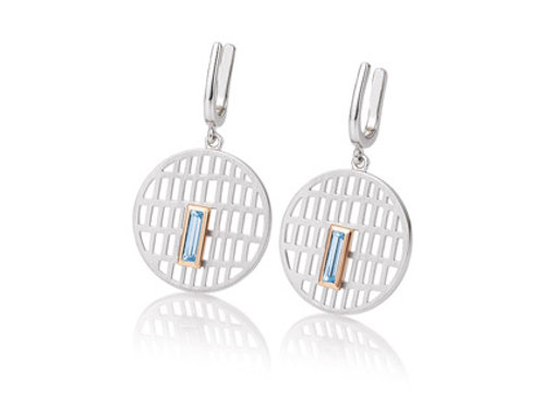 Sterling silver round earrings with blue topaz