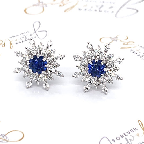 Snowflake diamond and sapphire stud earrings
