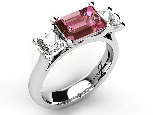 18ct White gold emerald cut pink tourmaline with two diamonds engagement ring