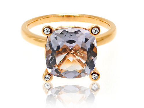 18ct Rose gold purple amethyst dress ring with diamonds