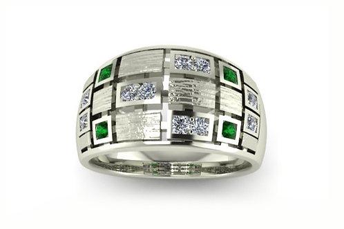 18ct white gold princess cut diamonds and emeralds flush set ring