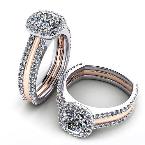 White & Rose Gold Cushion Diamond Engagement Ring